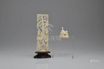 CHINESE IVORY CARVED PLAQUE AND SNUFF BOTTLE