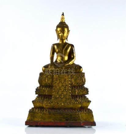 THAI PAINTED AND GILT BRONZE BUDDHA FIGURE