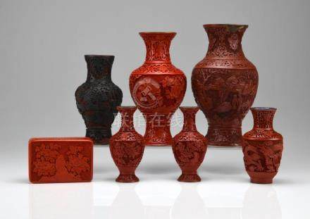 SEVEN CHINESE CINNABAR AND BLACK LACQUER PIECES