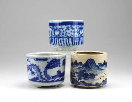 THREE CHINESE BLUE & WHITE PORCELAIN CENSERS