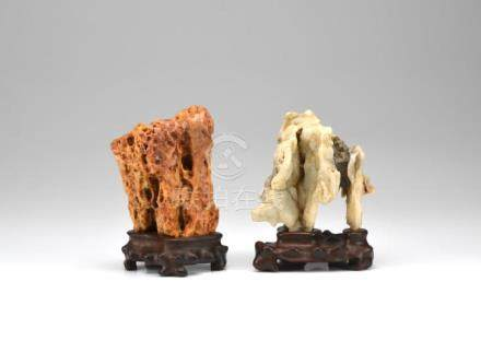 TWO CHINESE SCHOLAR'S ROCKS ON WOOD STANDS