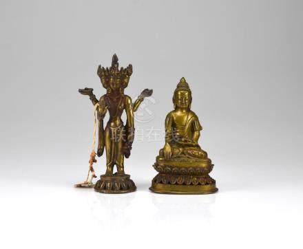 TWO HIMALAYAN BRONZE BUDDHIST AND HINDU FIGURES