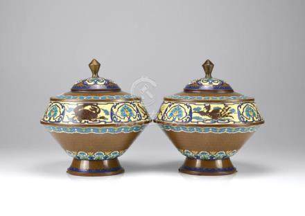 PAIR OF CHINESE CLOISONNE ENAMELLED COVERED JARS