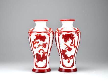 PAIR OF RED OVERLAY WHITE PEKING GLASS VASES
