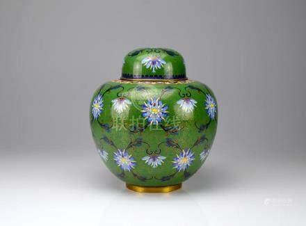 CHINESE CLOISONNE ENAMELLED COVERED JAR