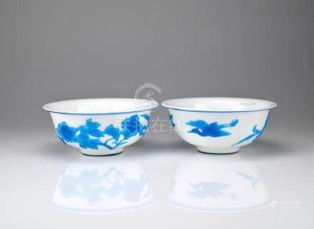 PAIR OF BLUE OVERLAY WHITE PEKING GLASS BOWLS