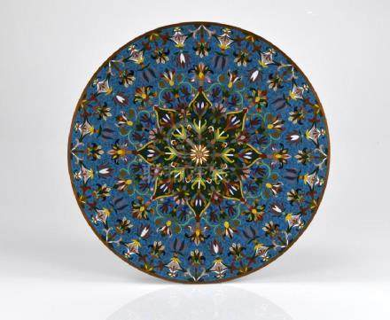 CHINESE CLOISONNE ENAMELLED CIRCULAR PLAQUE