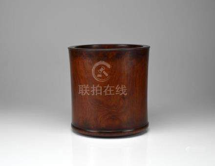 LARGE CHINESE HUALI ROSEWOOD CARVED BRUSH POT