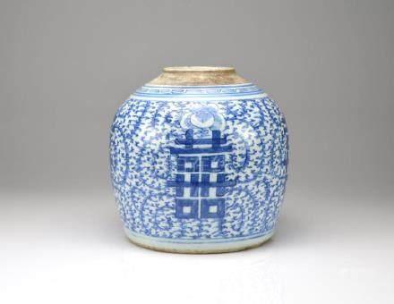CHINESE EXPORT BLUE & WHITE PORCELAIN GINGER JAR