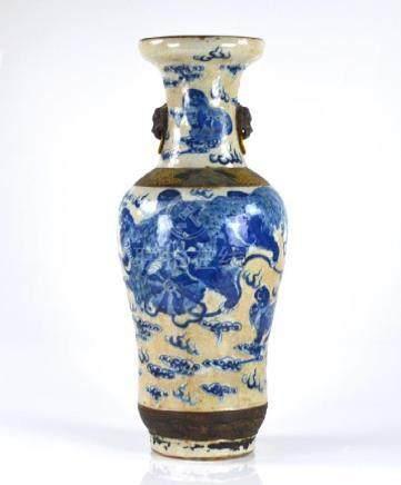 CHINESE CRACKLE GROUND BLUE & WHITE PORCELAIN VASE