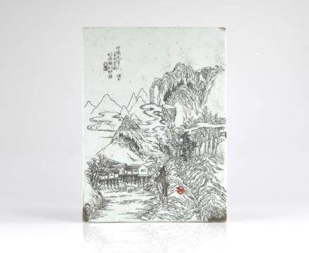 CHINESE INCISED PORCELAIN PLAQUE