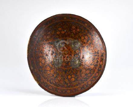 INDIAN LACQUERED LEATHER SHIELD WITH SILVER MOUNTS