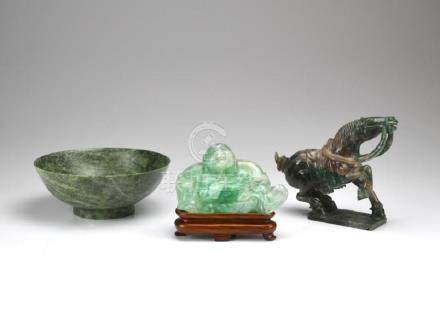 CHINESE STONE CARVED BUDDHA, HORSE, AND BOWL