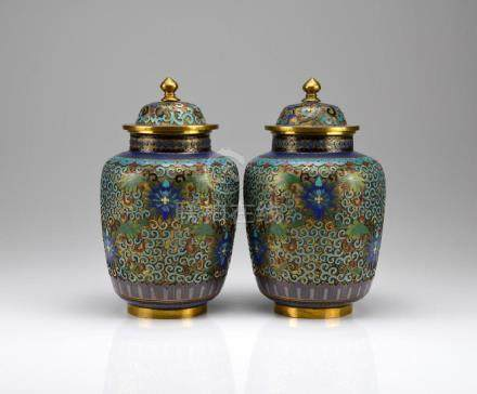 PAIR OF CHAMPLEVE ENAMELLED COVERED JARS