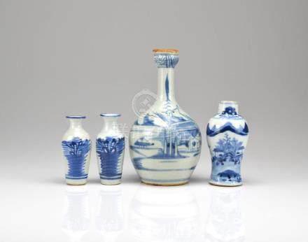 FOUR CHINESE BLUE & WHITE PORCELAIN VASES