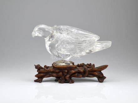 CHINESE ROCK CRYSTAL CARVED FALCON ON WOOD STAND