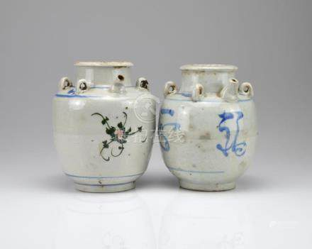TWO CHINESE BLUE & WHITE PORCELAIN WINE JARS