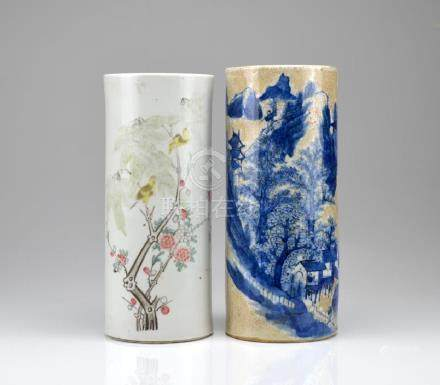 TWO CHINESE PORCELAIN HAT STAND VASES
