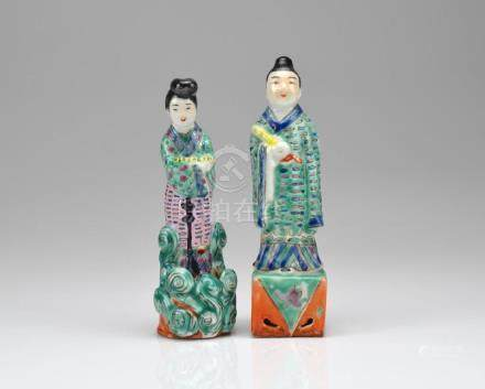 TWO CHINESE FAMILLE ROSE PORCELAIN FIGURES