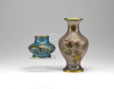 CHINESE PLIQUE-A-JOUR ENAMELLED VASE AND SHADE