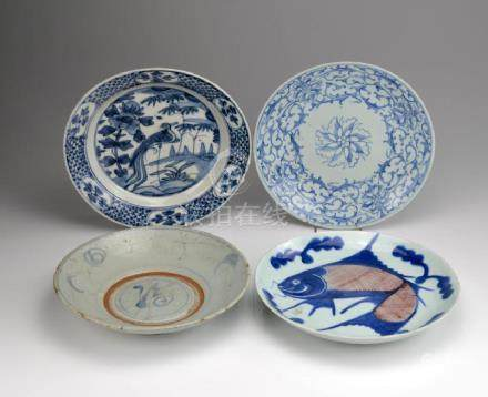 FOUR CHINESE BLUE & WHITE PORCELAIN DISHES