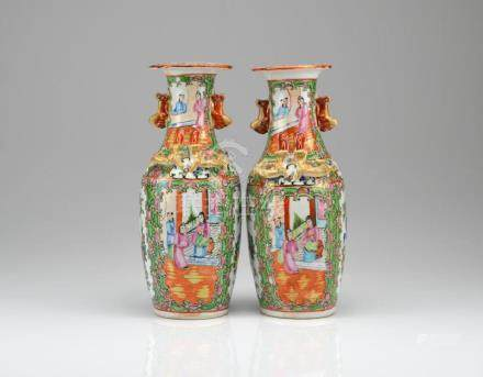 PAIR OF CANTON FAMILLE ROSE PORCELAIN VASES
