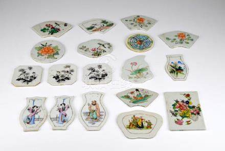 18 CHINESE PAINTED PORCELAIN PLAQUES