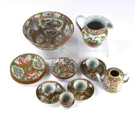 GROUP OF CANTON FAMILLE ROSE PORCELAIN