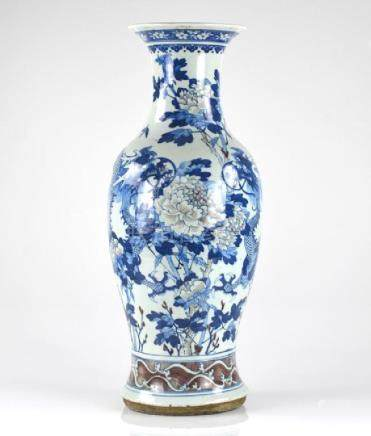 CHINESE COPPER RED, BLUE & WHITE PORCELAIN VASE