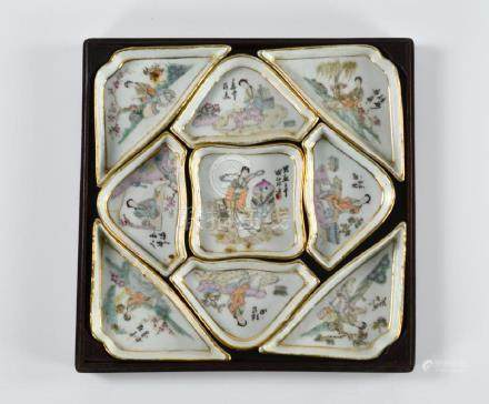CHINESE REPUBLICAN FAMILLE ROSE PORCELAIN DISH SET