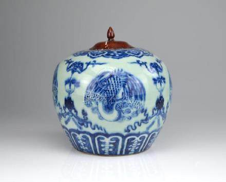 CHINESE BLUE & WHITE PORCELAIN PHOENIX JAR