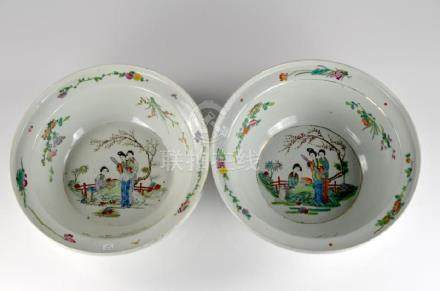 TWO CHINESE FAMILLE ROSE PORCELAIN BASINS