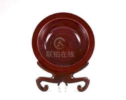 CHINESE COPPER RED GLAZED PORCELAIN BASIN