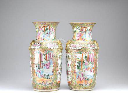 PAIR OF EXPORT CANTON FAMILLE ROSE PORCELAIN VASES