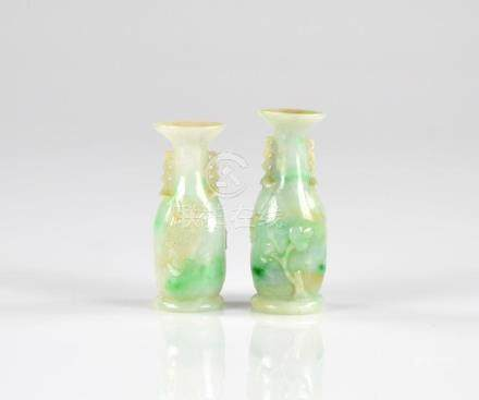 PAIR OF JADEITE CARVED MOUTH PIECE