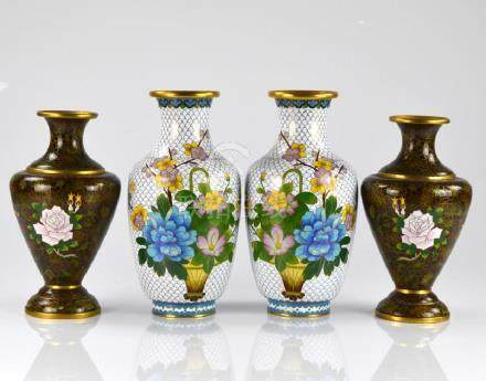 TWO PAIRS OF CHINESE CLOISONNE ENAMELLED VASES