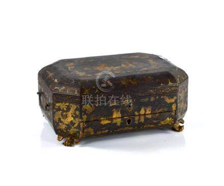 CHINESE EXPORT BLACK LACQUER WOOD BOX
