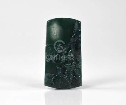 SPINACH JADEITE CARVED PLAQUE
