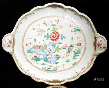 A large 19th Century Chinese export Famille Rose twin handled tray of lobed form,