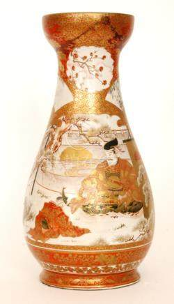 A large late 19th Century Japanese vase decorated with two rabbits amidst foliage and to the
