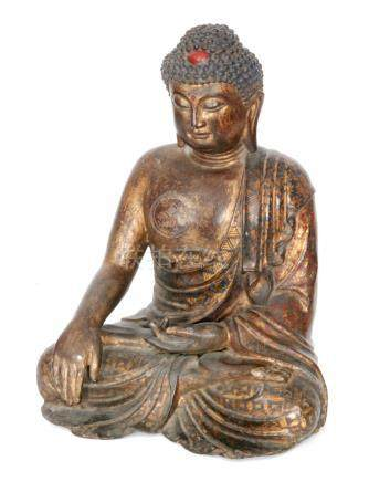 A Chinese lacquered, gilded and painted bronze figure of Buddha Shakyamuni,