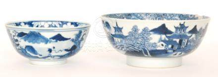 Two late 19th to early 20th Century Chinese blue and white footed bowls,