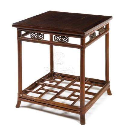 * A Chinese Hardwood and Bamboo Square Table, Xiaozhuo