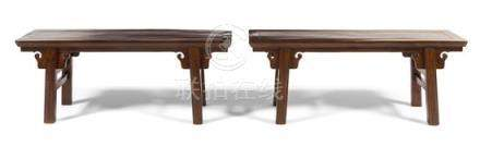 * A Pair of Small Chinese Hardwood Benches, Tiaodeng