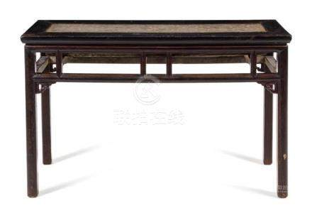 * A Greystone Inset Black Lacquered Hardwood Altar
