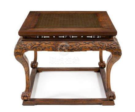 * A Chinese Hardwood Game Table, Qizhuo Height 29 x