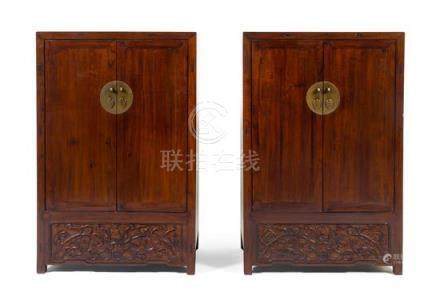 * A Pair of Chinese Hardwood Storage Cabinet,