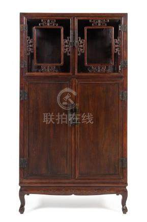 * A Chinese Hongmu Square-Corner Display Cabinet,