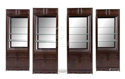 * A Set of Four Chinese Zitan Veneer Hardwood Display