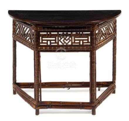 * A Chinese Lacquered Bamboo Demi-Lune Side Table,